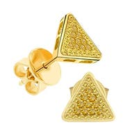 Prism Jewel 0.10CT Round Yellow Color Diamond Triangle Shaped Push Back Stud Earring