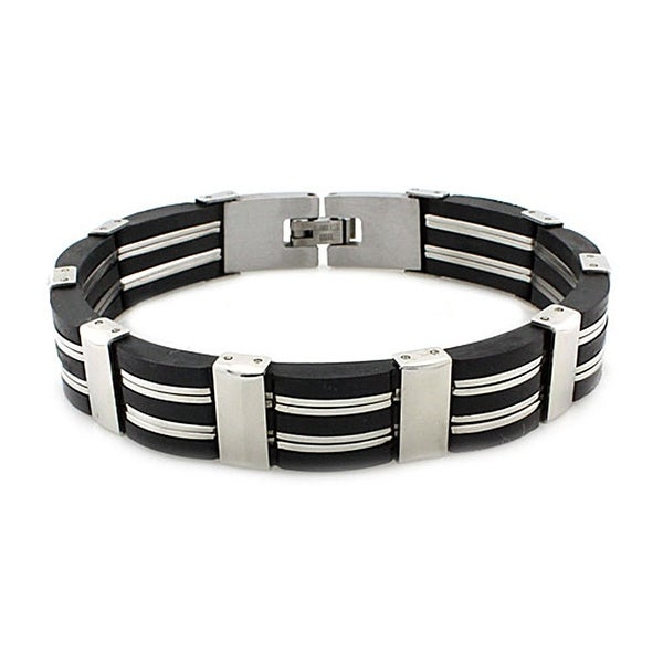 Stainless Steel Black Rubber Link Bracelet - 8.25 inches