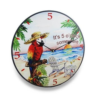 Its Five O Clock Somewhere Tropical Parrot Wall Clock 15 in.
