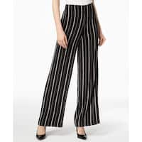 Nine West Black Womens Size 2 Striped Wide-Leg Dress Pants Stretch