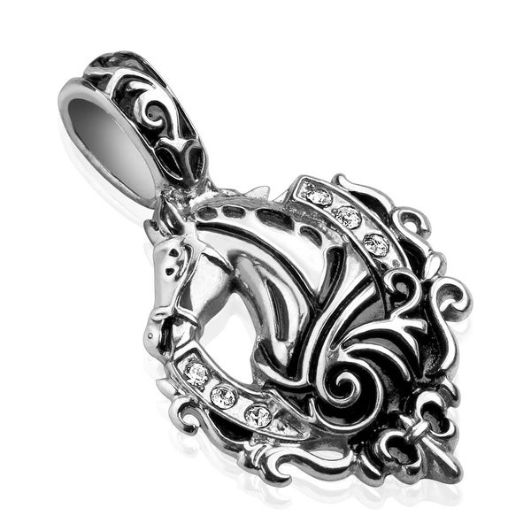 Cast Horse with Paved CZ Stainless Steel Pendant (20 mm Width)