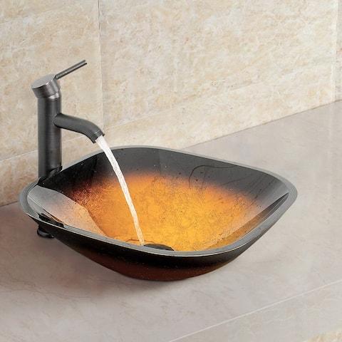 Artistic Vessel Sink Bathroom Tempered Glass Vanity - 17*16.5*5.5