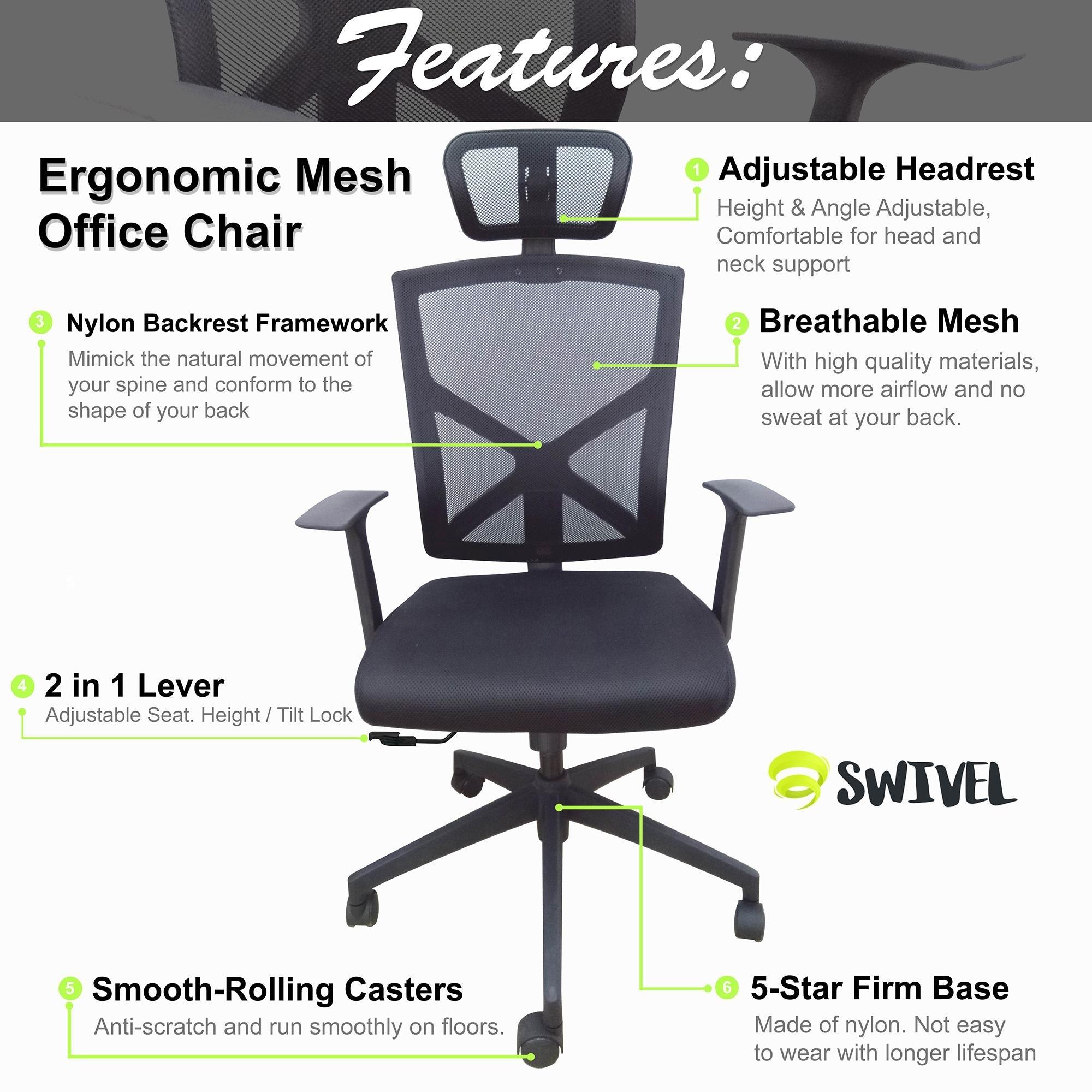 Shop Modern High Back With Headrest Office Mesh Chair Tilt Arms Lumber Support Large Base Adjustable Swivel Task Executive All Black On Sale Overstock 23574859