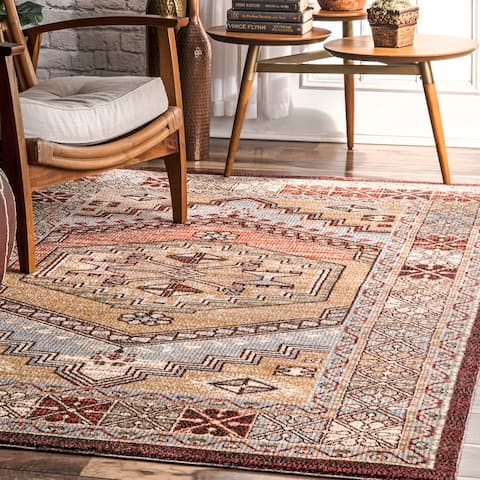 The Curated Nomad Bluxome Red Transitional Vintage Medallion Border Area Rug