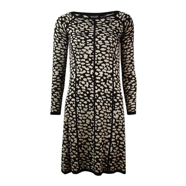 0fcf8b467fc Shop Spense Women s Striped Cheetah Knit Sweater Dress - On Sale ...
