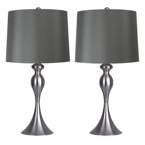 "Grandview Gallery 27"" Curvy Modern Metal Table Lamp Set with Tapered Drum Shades (Set of 2)"