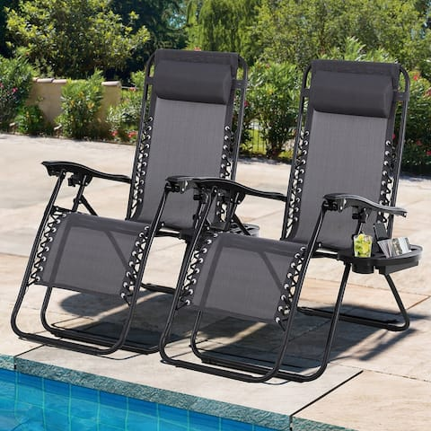Futzca Outdoor Zero Gravity Patio Lounge Chairs Set of 2, Folding Reclining Lawn Lounge Chair Recliner - N/A