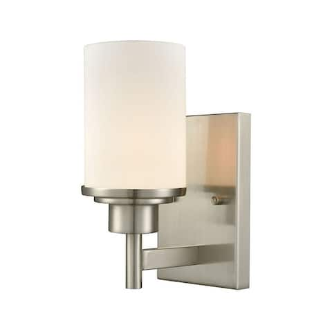 1 Up Light Bath Sconce With Brushed Nickel Finish With White Glass Made Of Glass/Metal - Bathroom