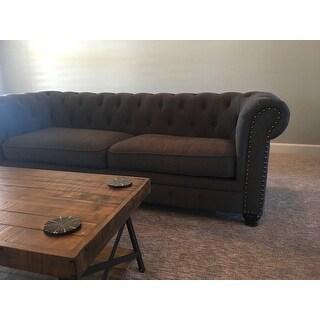 Furniture of America Staffers Traditional Deep Tufted Tuxedo Style Sofa
