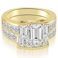 3.55 cttw. 14K Yellow Gold Channel Diamond Princess and Emerald Cut Bridal Set