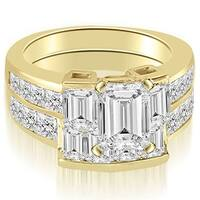 3.80 cttw. 14K Yellow Gold Channel Diamond Princess and Emerald Cut Bridal Set
