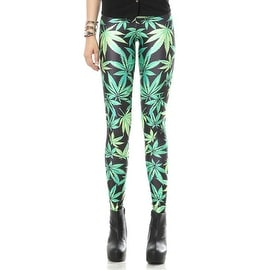 Fashion Lady Pattern Printed Leaf Design Stretch Tight Leggings Skinny Pants