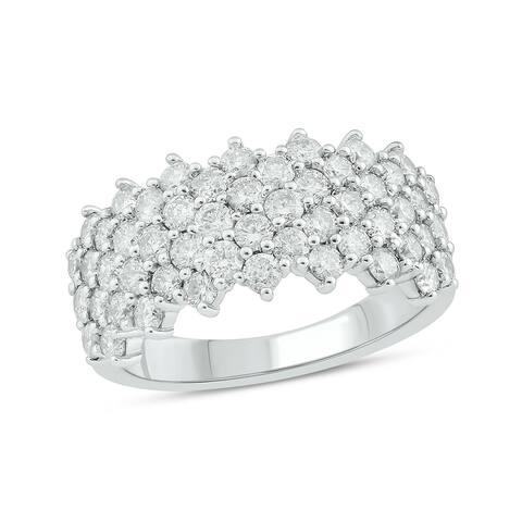 Cali Trove 10K White Yellow Rose Gold 2ct TDW Round White Diamond Fashion Ring