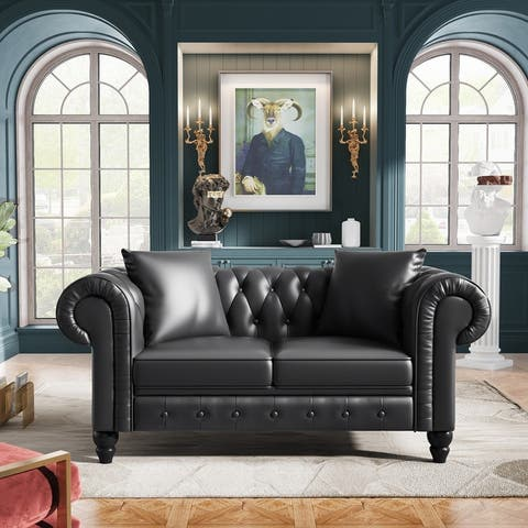 """[Pre-Sale]63"""" Tufted PU leather Loveseat Sofa With Roll Arm,2 Pillows"""