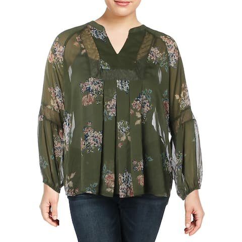 John Paul Richard Womens Blouse Lace Inset Floral Print - XL