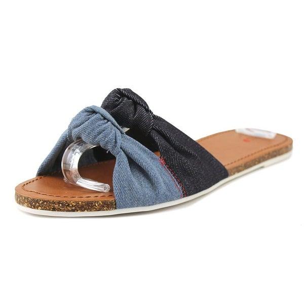 ED Ellen DeGeneres Shiri Women Open Toe Canvas Blue Slides Sandal