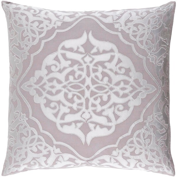"22"" Platinum Gray and Cool Gray Woven Patterned Decorative Throw Pillow- Down Filler"