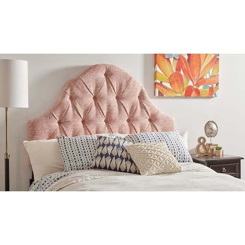 Swoon Melon Fabric Camel-Back Button-Tufted King Upholstered Headboard