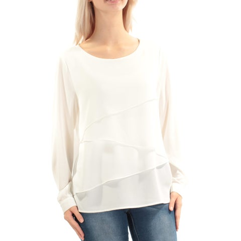 VINCE CAMUTO Womens Ivory Cuffed Jewel Neck Top Size: S