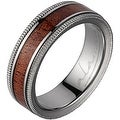 Titanium Wedding Band With Koa Wood Inlay & Coined Edges 6mm - Thumbnail 0