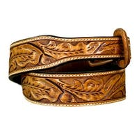 Vogt Silversmiths Western Belts Mens Running Oak Leaf Russet