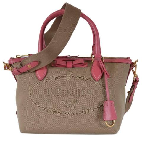 63529b7f06 Prada 1BA111 Jacquard Leather Borsa a Mano Pink Bowtie Convertible Purse  Bag - Blue/Multi