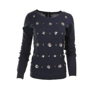 Quotation Womens Cashmere Embellished Pullover Sweater - XS