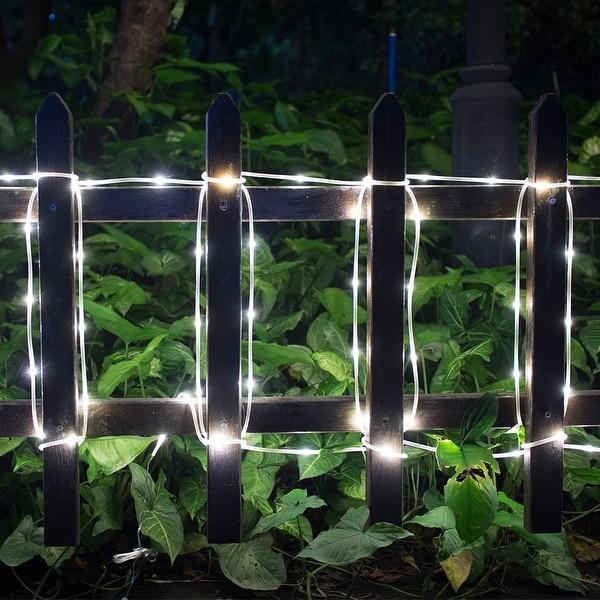 Solar Waterproof 42.6FT 100LED Rope Lights w/ 2400mah High Capacity Battery 8 model White