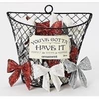 "3.5"" Silver Glittered Sequin Clip-On Bow Christmas Ornament"