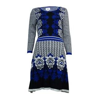 ECI Women's Floral Pattern Intarsia Sweater Dress - m