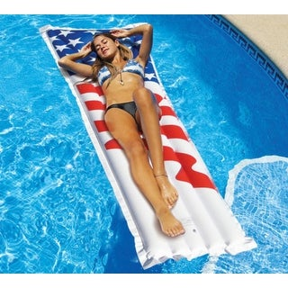 "78"" Water Sports Inflatable Americana American Flag Swimming Pool Air Mattress - White"
