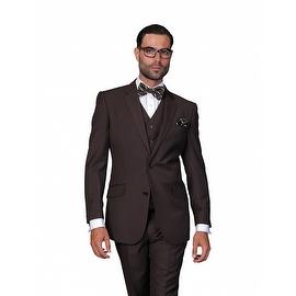 ST-100 Men's 3pc Solid BROWN Suit, Modern Fit, 2 Button, 2 Side Vent, Flat Front Pants