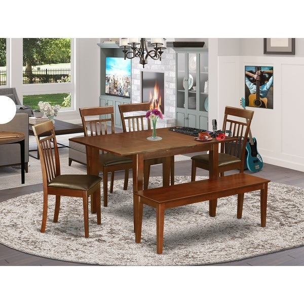 6-piece Dinette Kitchen Table and 4 Dining Chairs and Dining Bench. Opens flyout.