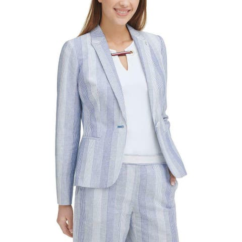 Tommy Hilfiger Womens Blazer Jacket Striped Single Button