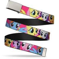 Blank Chrome Buckle Ponies Close Up Fuchsia Webbing Web Belt