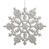 6.25 in. Club Silver Glitter Snowflake Christmas Ornaments, Pack