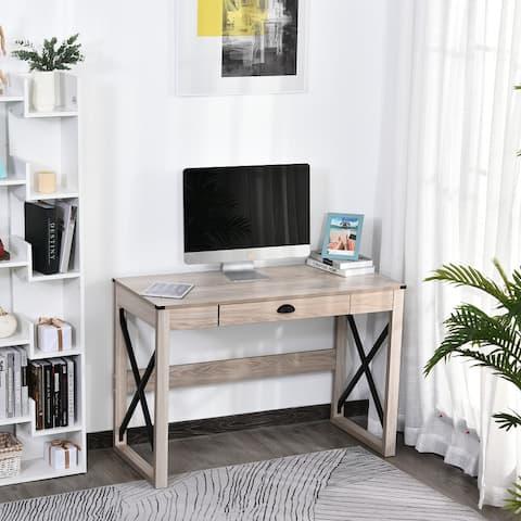 HOMCOM Industrial Retro Style Wooden Modern X-Frame Particleboard Study Desk w/1 Drawer Home Office Desk Oak Function Desks