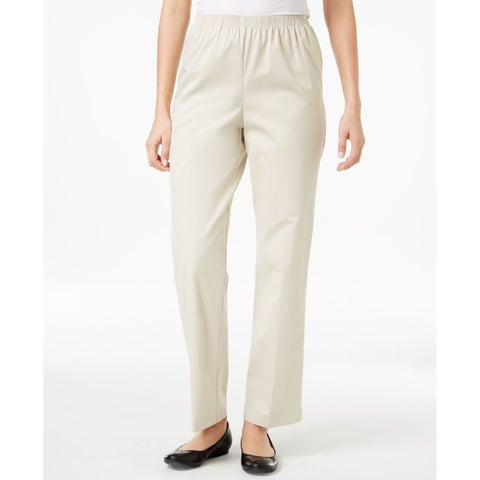 Alfred Dunner Beige Womens Size 16 Pull On Flat Front Pants Stretch