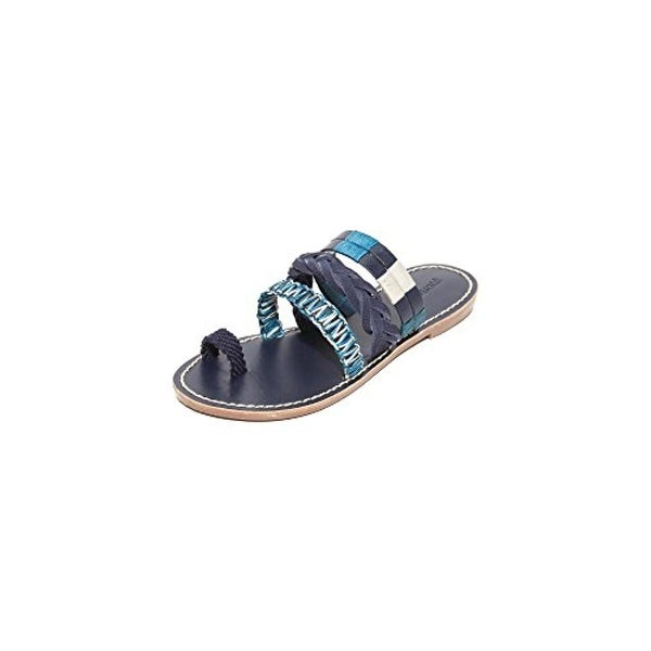 Soludos Womens Slide Sandals Leather Toe Loop