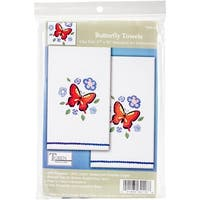 "Tobin Stamped For Embroidery Kitchen Towels 18""X28"" 2/Pkg-Butterfly"