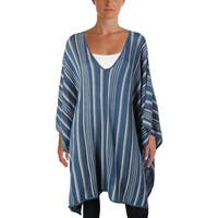 Lauren Ralph Lauren Womens Plus Poncho Sweater Casual Striped - o/s