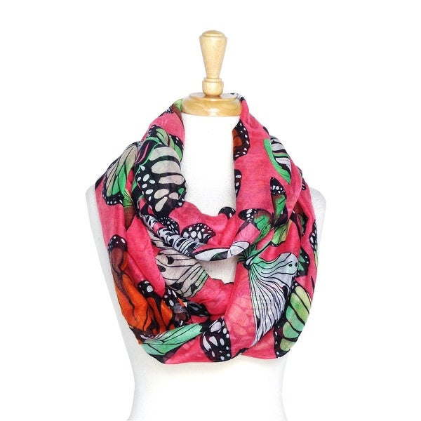 Women's Butterfly Print Lightweight Soft Infinity Scarf - size:circumference 68 inches x 35 inches