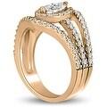 1.20 cttw. 14K Rose Gold Halo Marquise Cut Diamond Engagement Diamond Ring - Thumbnail 3