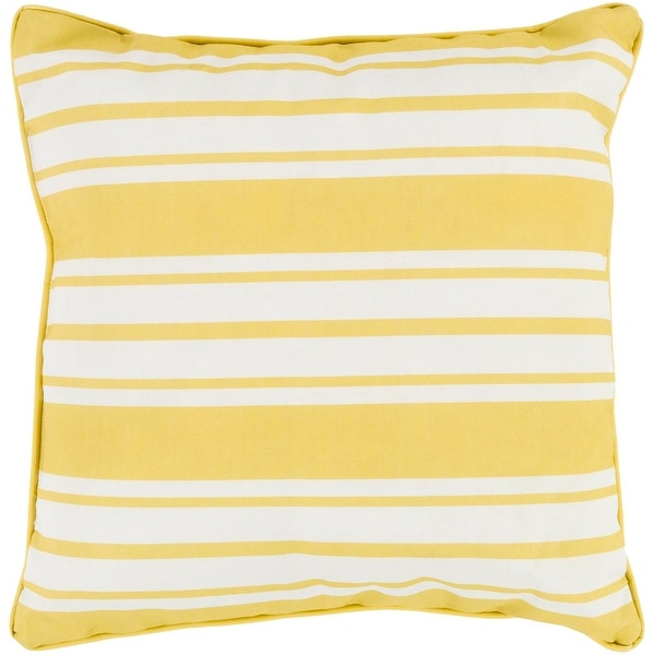 """16"""" Striped In Color Lemon Yellow and Ivory White Decorative Throw Pillow"""