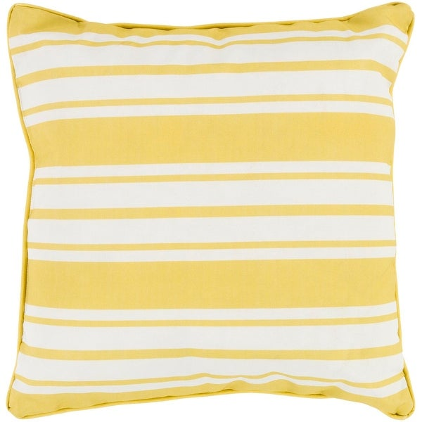 """20"""" Striped In Color Lemon Yellow and Ivory White Decorative Throw Pillow"""