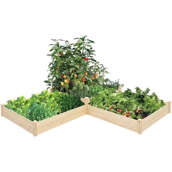 SUNCROWN Outdoor Wooden Garden Bed Planter Box