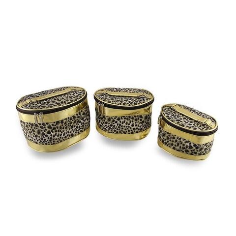 Set of 3 Leopard Print Cosmetic Bags w/Metallic Gold Trim