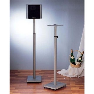 VTI Manufacturing Silver Iron Cast Baseadjustable Speaker Stand