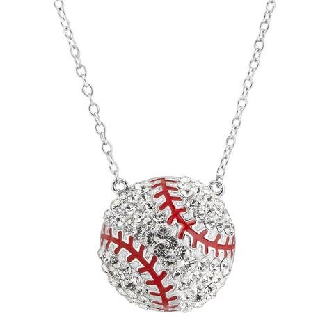 Crystaluxe Baseball Necklace with Crystals in Sterling Silver - White