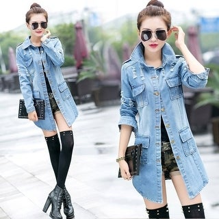 Autumn Korean Version Of Slim Frayed Denim Jacket Long Paragraph Long-Sleeved Women'S Coat Denim Jacket